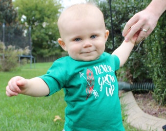Never Grow up infant, toddler and youth shirt. Peter Pan shirt. Lost boys. Neverland shirt. Family Vacation shirts. Tinker Bell shirt.