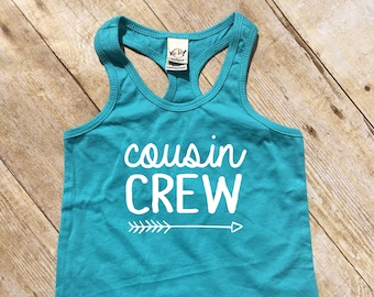 Cousin Crew tank top. Caribbean Blue Cousin Crew shirts. Cousin Squad. Cousin tribe. Girls, toddler and infant sizes Cousin Best Friends