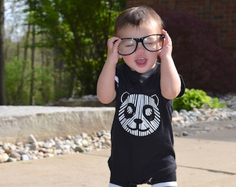 Panda infant bodysuit. Monochrome shirt. Floating panda shirt. Panda. Kids Panda shirt. Football style one-piece. Striped shirt.