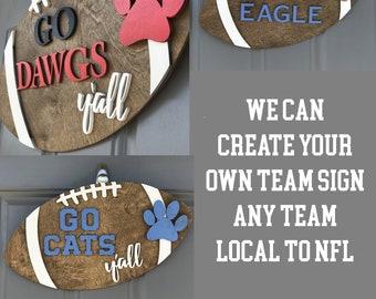 Custom Football door hanger | Wooden Door hanger | Football season | Any Team | NFL Football teams | Football Y'all | College Football teams