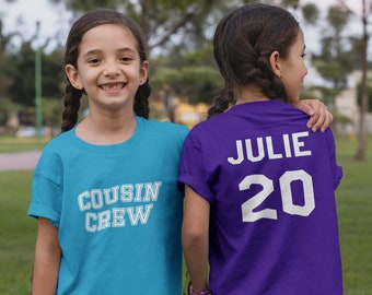 Personalized Cousin Crew shirts. Personalize with age or birth order! Jersey Names and number. Cousin vacation Shirts. Family reunion shirts