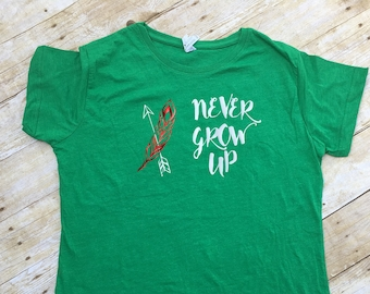 Never Grow up adult shirt. Peter Pan shirt. Lost boys. Never land shirt. Family Vacation shirts. Pixie Dust shirt. Cruise shirt