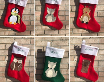 Personalized Felt Christmas stocking.  Green, red or turquoise base color. Custom designs available!