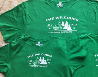 Family Camping shirts. Family Vacation Shirts. Camper and trees. shirts. Customizable family vacation shirts. Camp Shirts. Camping shirts.