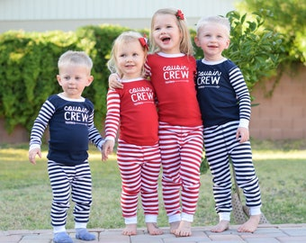 Infant and Toddler Cousin Crew Pajamas. The Original Cousin Crew Pajamas 6 months - 5/6 Cousin Pajama sets - red and navy stripes