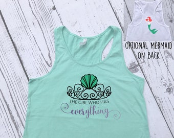The girl who Has Everything Mermaid Tank Top. Dinglehopper hair don't care. Ladies and Girls sizes. Mermaid Vibes. Mermaid hair, don't care.