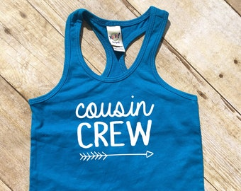 Cousin Crew tank top. Cobalt Blue Cousin Crew shirts. Cousin Squad. Cousin tribe. Girls, toddler and infant sizes Cousin Best Friends