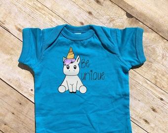 Be Unique. Unicorn one-piece. Be Unique. Be unique one-piece. Unicorn bodysuit. Be yourself. Baby Unicorn. Unicorn baby Fast shipping!