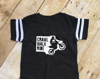 Crawl Walk Ride infant one-piece. Infant bodysuit. Motocross baby gift. Dirt bike baby gift. Football Style one piece.