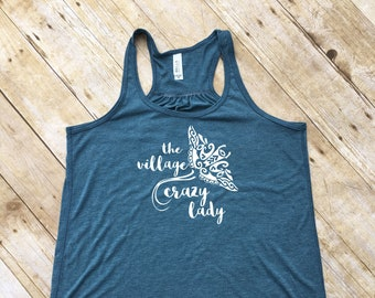 The Village Crazy Lady adult tank. Moana shirt. Racer Back Tank. Moana. Moana tank. Vacation shirt. Summer tank top. Cruise Tank top