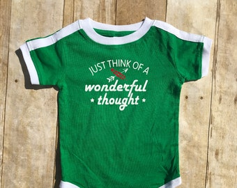Just think of a wonderful thought soccer style shirt. Peter Pan shirt infant, toddler & youth sizes.  Lost boys Neverland shirt.
