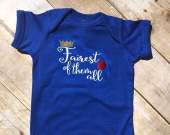 Fairest of Them All Shirt. infant bodysuit. Snow white shirt. snow white baby. Princess shirt. Princess baby. Newborn baby girl gift.