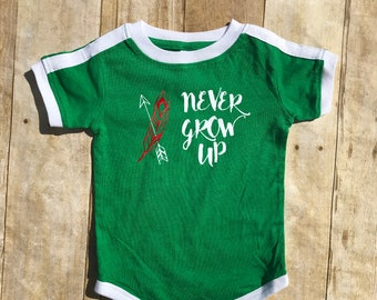 Never Grow Up shirt.  Peter Pan shirt in  infant, toddler & youth sizes. Lost boys Neverland shirt. Family Vacation Shirts. Soccer Ringer