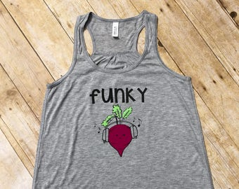 Funky Beet. Funky Beet Tank Top. Vegetable shirt. Music shirt. Cute food clothing. Ladies Racer back tank.