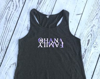 Ohana Family.  Ohana means family Racer Back Tank. Vacation shirt. Summer vacation. Family shirt. Fast Shipping!