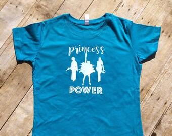 Girls Princess shirt.  Princess Power Shirt. 80's princess Priness Leia shirt. Xena Shirt. She-ra shirt. Princess shirt.