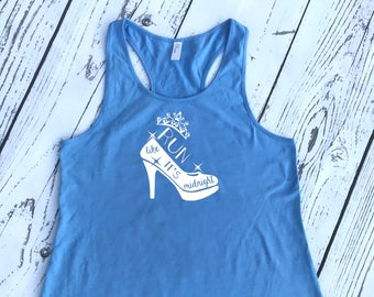 Run Like It's Midnight Racer Back Tank. Cinderella shirt. Vacation shirt. Cinderella tank top. Marathon Runner. Marathon Tank.