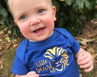 Little Beast infant, toddler youth shirt. Beauty and the Beast. Beast bodysuit. New baby gift. Fairy tale baby gift. Royal blue baby gift.