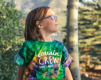 Personalized Tie Dye Cousin Crew shirt. Name and Birth Order. The Original Cousin Crew shirts. Youth and Adult sizes