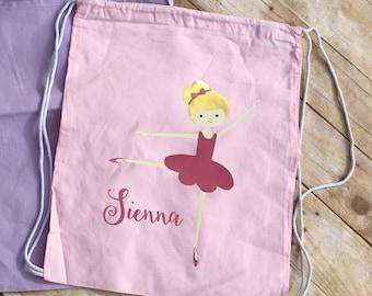 Girls Dance Bag. Toddler Dance Bag Personalized Ballet Bag. Drawstring backpack. Ballet bag.