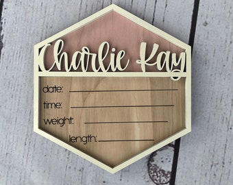 Personalized Birth Announcement   Hexagon Birth Stats Sign   Hospital Name Sign   Newborn Photo Prop   Social Media Birth Announcement sign