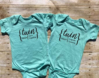 Twins born together, friends forever set. Newborn twins outfit. Twin one-pieces. Twin bodysuits Includes 2 bodysuits or shirts