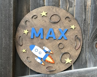 """Moon and Rocket Wooden name Sign 