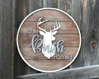 "Personalised Family name sign | Established sign | Name Plaque | New Home Wall Decor | Pallet sign | Stag Head 18"" 20"" or 22"" circle"
