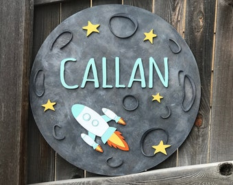 "Moon and Rocket Wooden name Sign | Boys Room Decor | Outer Space Sign | New baby Gift | Boys Nursery Decor | Name Plaque | 18"" 20"" or 22"""