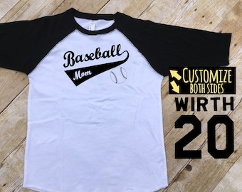 Baseball Mom Shirt. Custom Baseball Mom Shirt. Adult Raglan. Sports mom. Baseball Tee. Proud Baseball Mom. Custom Mom Tee