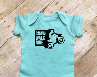 Crawl Walk Ride infant one-piece. Infant bodysuit. Motocross baby gift. Dirt bike baby gift.