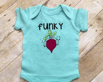 Funky Beet. Beet infant one-piece. Infant bodysuit. Vegetable shirt. Music shirt. Cute food clothing. Kawaii Baby gift.