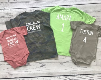 Cousin Crew shirt, Personalized. Name and Birth Order Cousin Crew shirts. Newborn - 3XL. Cousin shirts. Ships in 4-6 Business days!
