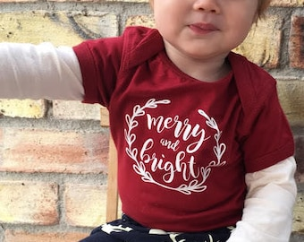 SALE! Ready to ship! Merry and Bright. Ready to ship bodysuit or shirt. Christmas shirt. Xmas One piece. Christmas Clothing. SALE!