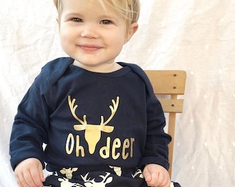 Oh deer longsleeve one-piece.  Oh deer.  Hunting one-piece. Long Sleeve Christmas one-piece. Deer one-piece. Christmas baby.  Fast Shipping!