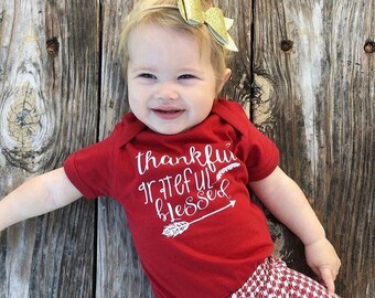 Thankful Grateful Blessesd shirt. Long sleeve one-piece or shirt. Thanksgiving one-piece. Holiday one-piece. Fast shipping!