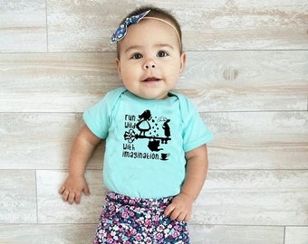 Run Wild with Imagination. Alice infant bodysuit. Alice in Wonderland shirt. White Rabbit. We're all mad here. Short Sleeve.