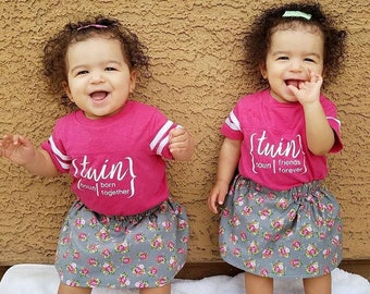 Born together Friends Forever. Twins one-piece set. Twin football one-piece set. newborn twins outfit. Twins outfit. Twin shirts.