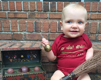 My other stroller is a Nimbus 2000. Wizard Baby. Wizard School. Wizard Shirt. Infant Bodysuit. Wizard Baby Shower gift. Fast Shipping!