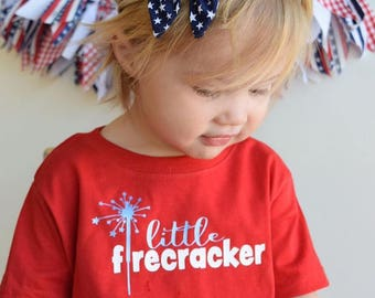 Little Firecracker. Fourth of July.  4th of July shirt. Baby's first Fourth. July 4th outfit. Infant and toddler 4th of July outfit