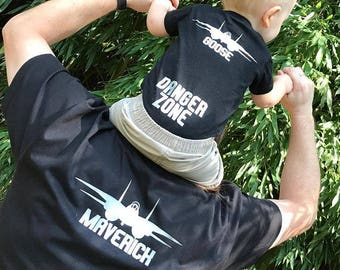Maverick, Goose and Charlie shirts. Aviator glasses. Pilot & co-pilot shirts. Fathers Day gift. Matching shirts. Mother's day gift.