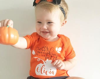 Personalized Cutest Pumpkin the the patch shirt or one piece. Personalized halloween. Halloween baby. Halloween bodysuit. Pumpkin shirt.