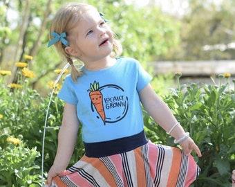 Locally Grown. Kawaii Carrot shirt. Carrot shirt. Cute Farmers market shirt: infant, toddler and youth sizes. Shop local shirt.