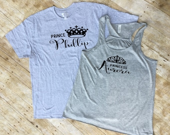 Sleeping Beauty and Prince Phillip Mr and Mrs set. Aurora Husband and wife set. Matching tank/shirt and shirt. Includes both shirts!