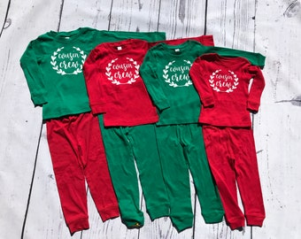 Holiday Cousin Crew: Christmas Pajamas.  Infant, Toddler and Youth sizes. Boy and Girl Pajamas. Holiday Pajama sets. Family Reunion Shirts