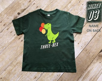 Three Rex Shirt. Boys Birthday shirt. Dinosaur Birthday Shirt. Tyrannosaurus Rex shirt. Dinosaur Birthday theme. Customize name !