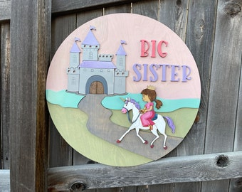 Personalized Princess Castle circle name sign | Girls over the crib name sign | Princess themed nursery wall art | Baby Wall Decor