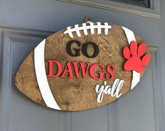 Georgia Football door hanger | Wooden Door hanger | Football season | Georgia Bulldogs | SEC Football | Football Y'all | UGA