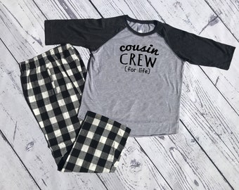 Cousin Crew (for life) Buffalo Plaid Christmas Pajama set. Youth and Adult Black and Heather. Holiday Pajama sets. Family Reunion Shirts