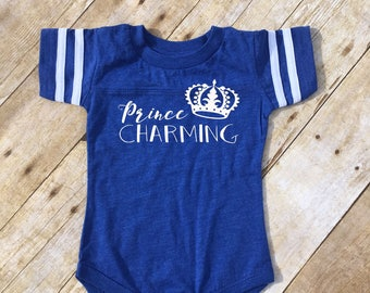Prince Charming. Prince Charming one-piece or shirt. Football jersey.  Cinderella one-piece or shirt. Fast Shipping!